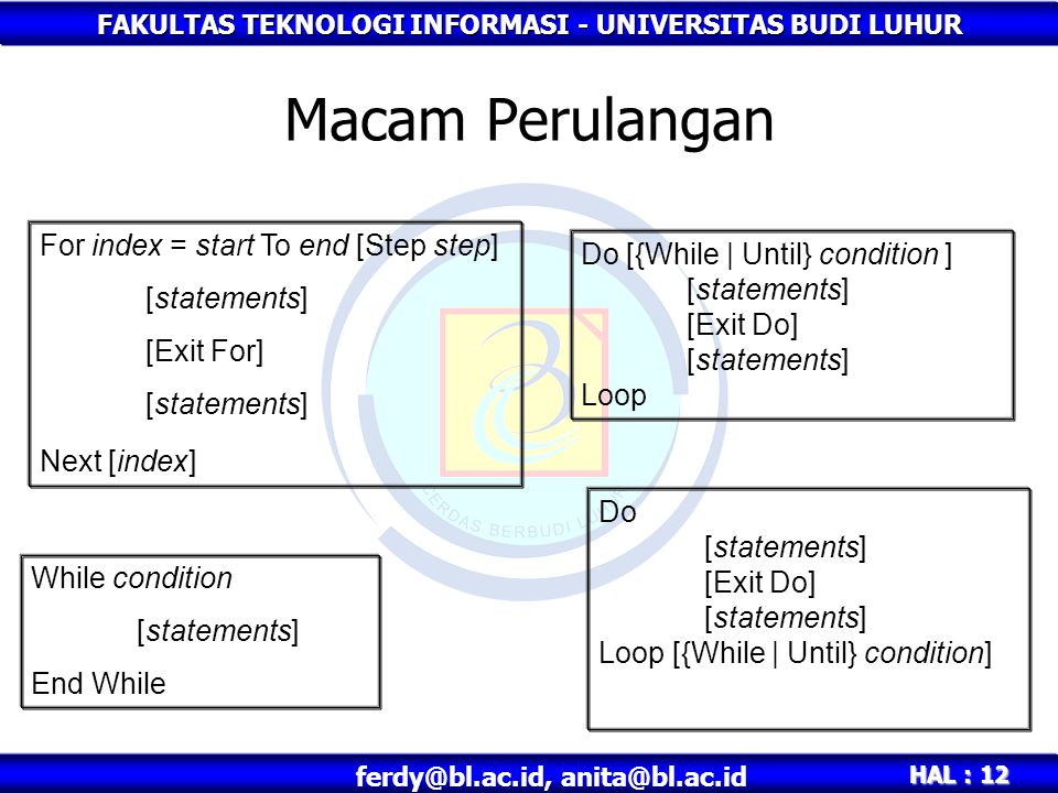 Macam Perulangan For index = start To end [Step step] [statements]